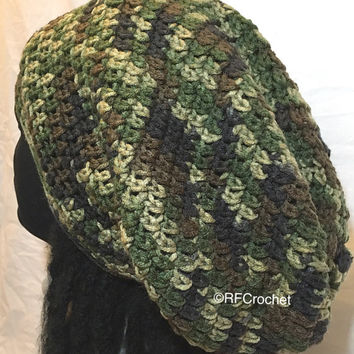 Camo Slouch Beanie | Large | Classic Style | Free USA Shipping | Dreadlock Hat | Men | Women | Long Hair | Medium Weight