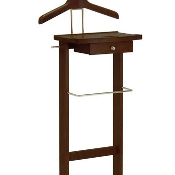 Winsome Wood Valet Stand with Mirror, Drawer, Tie Hook, Casters