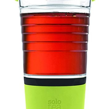 SoloTea French Design Smart Tea Brewer System with Premium 12 OZ Travel Mug 100% BPA Free (LIME)