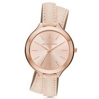 Slim Runway Rose Gold-Tone and Leather Wrap Watch | Michael Kors