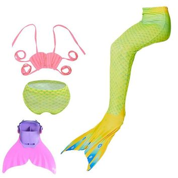 Little Girls mermaid tails with Monofin,halloween Costumes Swimsuit Swimmable Mermaid Tail Swimming Tropical Bikini Sets Kids