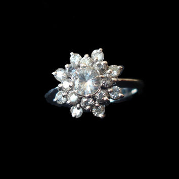 Gold Ring, pure natural white Ceylon Sapphires,handmade Art Deco Payment Plan is available. P-053-1