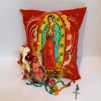 Virgen de Guadalupe Floral Pillow -  Mother of Mexico - Rosary - Religious Keepsake Pillow