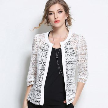 Women Plus Size Summer Lace Cardigan Feminino Floral Hollow Out Lace Blouse Elegant Black White Crochet Lace Shrug Coat L-5XL