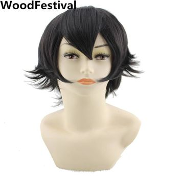 short cosplay wig black green pink blonde red purple blue brown orange mens wigs synthetic hair heat resistant WoodFestival