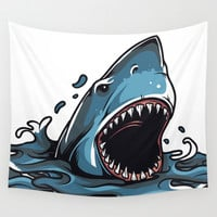Angry Shark Wall Tapestry by Mr0frankenstein