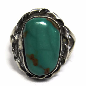 Vintage Navajo Lone Mountain Turquoise Ring Sterling Size 6