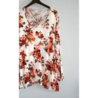 Welsh Cross Front Floral Tunic - Ivory
