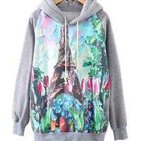 Grey Tulips And Eiffel Tower Print Hoodie Sweater