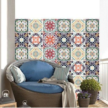 Moroccan Style DIY Mosaic Wall Tiles Stickers Waist Line Wall Sticker Kitchen Adhesive Bathroom Toilet Waterproof PVC Wallpapers