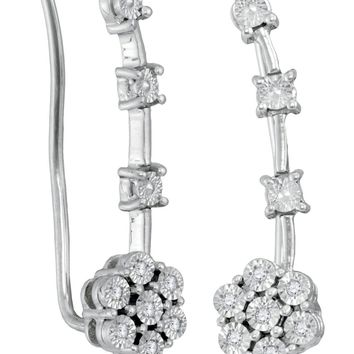 Sterling Silver Women's Round Diamond Illusion-set Cluster Climber Earrings 1-20 Cttw - FREE Shipping (USA/CAN)