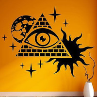 Wall Stickers Vinyl Decal Masons Pyramid and Eye Conspiracy Theory (z1102)