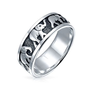 Oxidized 925 Sterling Silver Good Luck Elephants Ring For Teen