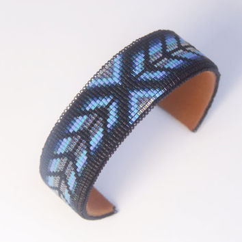 Native American Beaded Cuff Bracelet In Shades of Black and Blues in a Herringbone Pattern by LJ Greywolf