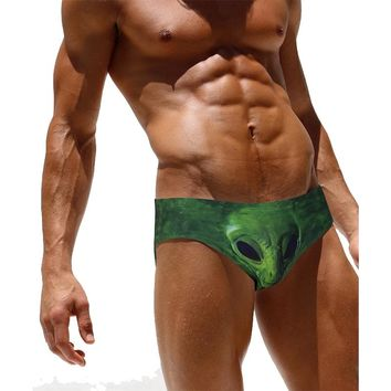 New Men Green Skull Printing Swimwear Swimsuits Bathing Suits For Man Male Bikini Swim Briefs Beach Wear