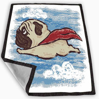 Flying Pug Blanket for Kids Blanket, Fleece Blanket Cute and Awesome Blanket for your bedding, Blanket fleece *