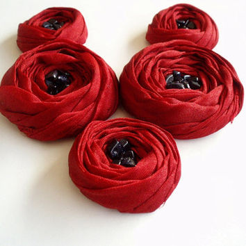 Dark Red Roses Handmade Appliques Embellishments(5 pcs)