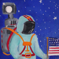 Space Painting on Canvas for Boys Room, Astronaut art, Space man with flag, 8x10 Original on Canvas