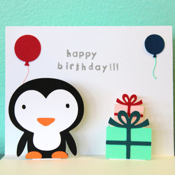 Pop Up Card - Penguin - Happy Birthday