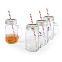 """Glass Mason Jar Mugs with Metal Lids, Strong Reusable Straws and Glass Handles, Set of 4, 15 Ounce Each """"Yorkshire Country Style Old Fashioned Shaped Glass Ball Mason Jars"""" By Circleware, Glassware Drinkware Drinking Glasses/cups Lid Handle Set"""