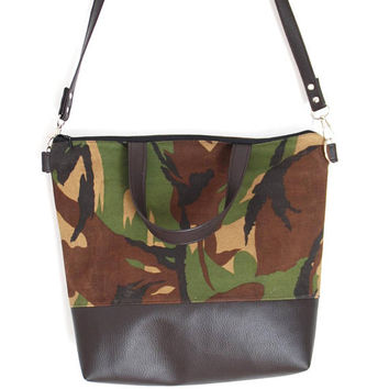 Camouflage Shoulder Bag, Recycled Army Canvas Bag with DARK BROWN Faux Leather, Camouflage Waxed Canvas Bag, Army Canvas Tote Bag