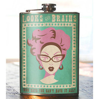 Looks & Brains Stainless Steel Flask - 8oz.