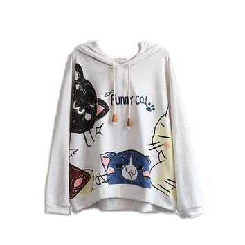 2017 Women Top Spring Clothes New Pattern Girl Soft Sister Cartoon Kitty Printing Cat Ears Loose Hooded Grey