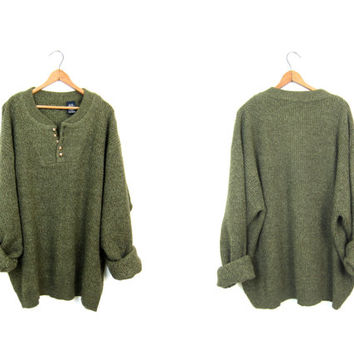 Oversized Army Green Sweater Loose Fit Henley Sweater Slouchy Boho Boyfriend Pullover Rib Knit Sweater Ribbed Sweater Mens 3XL XXXL