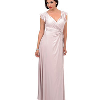 1930s Style Blush Pink Butterfly Cap Sleeve True Wrap Maxi Dress