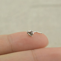 sterling silver nose ring,beetle nosering L shaped nose ring,bestfriend gift
