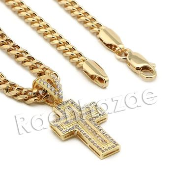 Lab diamond Micro Pave Mini Jesus Cross w/ Miami Cuban Chain BR119
