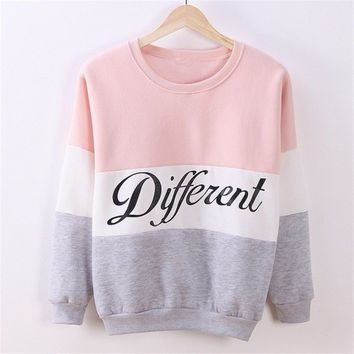 Women Fashion Spell Color Letters Print Long Sleeve Sweatshirt 4 Colors [8401223431]