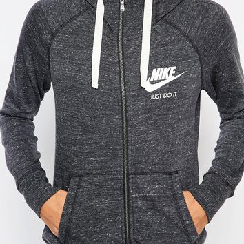 Nike Zip Front Hood With Small Logo In Vintage Washed Fabric