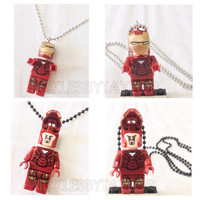 BOGO Buy 1 Get 1 Promo Lego® IRONMAN Avengers Necklace, Lego Superhero Necklace, FREE Lego® Tony Stark Minifigure Necklace Party Favors Gift