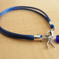 Osteogenesis Imperfecta Blue Awareness Bracelet / Anklet - Wishbone Charm