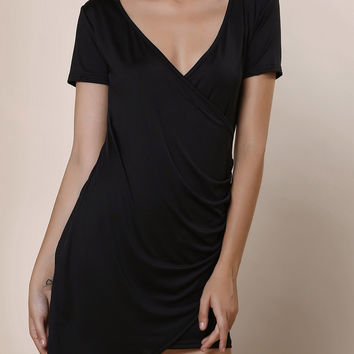 Casual Plunging Neck Short Sleeve Asymmetrical Solid Color Dress