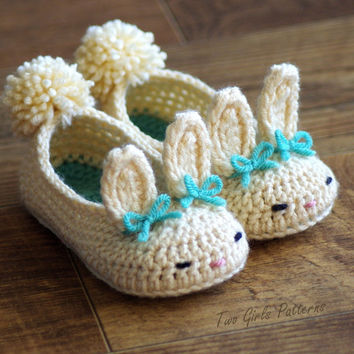 Toddler Bunny Slippers Tot Hops Toddler by TwoGirlsPatterns
