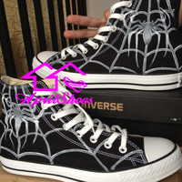Spidey's Web on Black Converse Customize Spider Converse Sneakers