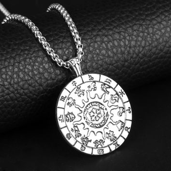 European New 12 Constellations Necklaces Stainless Steel Pendant Rune Divination Symbol Talisman Jewelry Zodiac Necklace Vintage