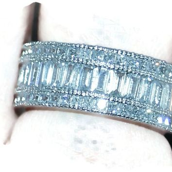 Anniversary Band Baguette White Topaz Cubic Zirconium Diamond 10KT White Gold Wedding Band Ring Sz 5-11