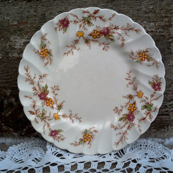 "SET OF 2, Yellow Floral Side Plates, Myott Heritage Staffordshire, 6 1/4"" Side Plates, England Plates, English Transferware, Kitchen, Serve"