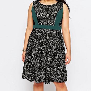 Plus Size Green Accent Floral Lace Sleeveless Dress