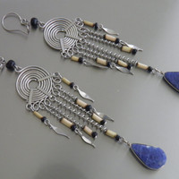 Bamboo and Metal Earrings with Sodalite Gemstone