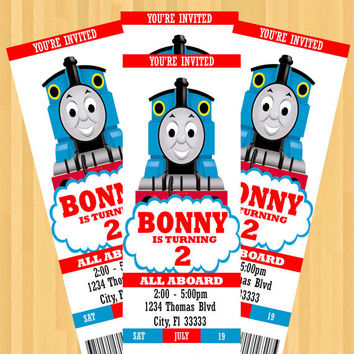 Thomas The Train Party Invitation (Ticket Style)