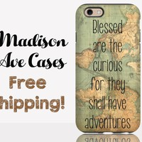 Blessed Are The Curious For The Shall Have Adventures Map Travel Vintage World Samsung Galaxy S6 S7 Edge Plus iPhone 4 5 6 6s SE Phone Case