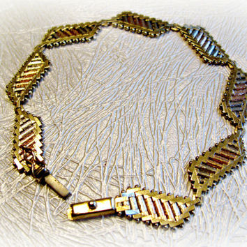 Vintage Bracelet, 14K Gold, Tri Color, Italian, Flexible Woven Links, Unique Riccio Design, Priced Below Appraisal