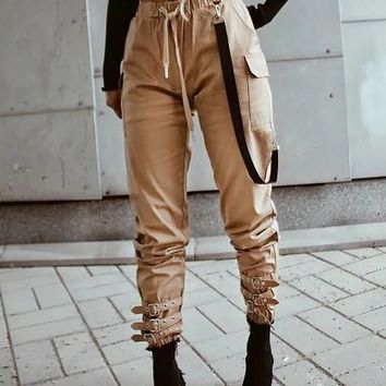 New Khaki Pockets Drawstring Chain High Waisted Streetwear Fashion Casual Long Cargo Pants