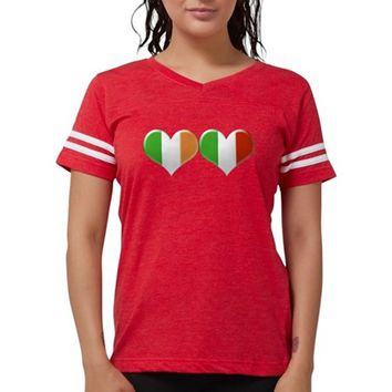 Irish and Italian Heart Flags Womens Football Shirt