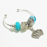 Crown Bracelet / Turquoise and Silver Cuff Bangle Bracelet / Cuff Bracelet / Crown Charm Bracelet / Lampwork Beads / 5 Point Crown Jewelry