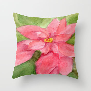 Poinsettia Plain Throw Pillow by CSteenArt